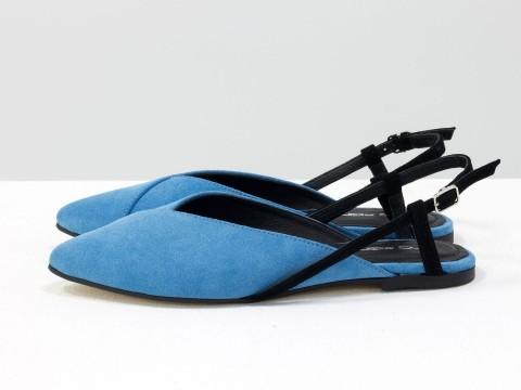 Женские туфли с открытой пяткой из велюра голубого цвета,  С-2030-02