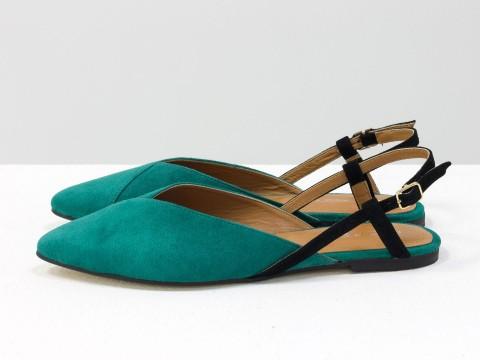 Женские туфли с открытой пяткой из велюра цвета морская волна, С-2030-03