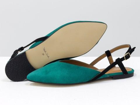 Женские туфли с открытой пяткой из велюра цвета  морская волна
