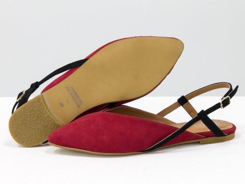 Женские туфли с открытой пяткой из велюра красного цвета волна
