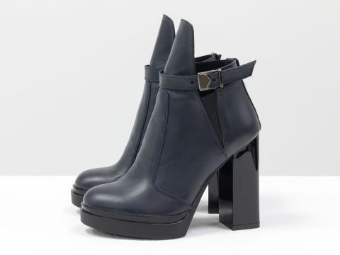 Синие ботинки на высоком каблуке из кожи ,Б-1664-16