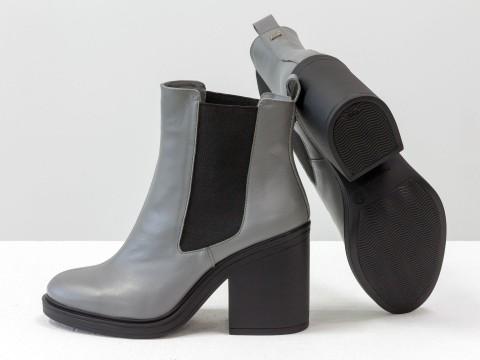 Серые ботинки из натуральной кожи  на каблуке , Б-17330-20