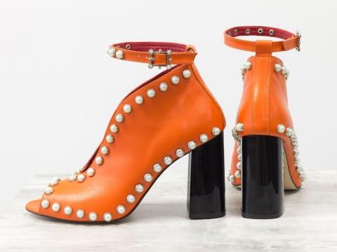Туфли с открытым носком из оранжевой кожи на глянцевом каблуке, Т-17420-04