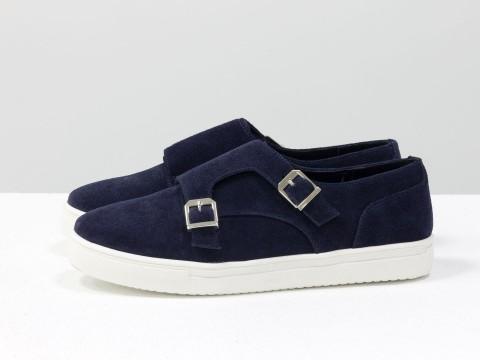 Туфли замшевые синие с металлическими пряжками на подошве белого цвета , Весна-Осень