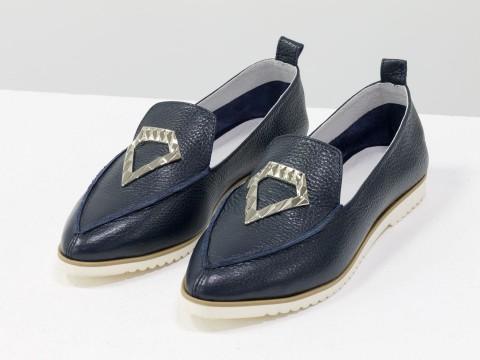 Синие туфли из натуральной кожи, Весна-Лето