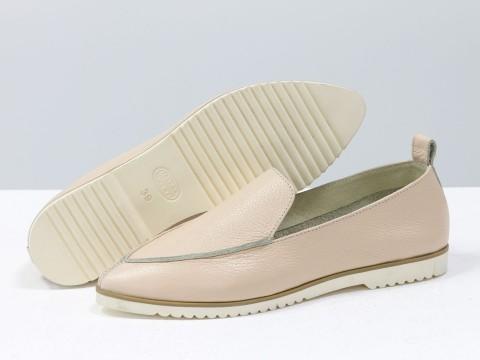 Летние туфли из натуральной бежевой кожи