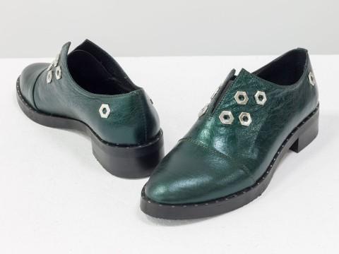 Туфли оксфорды из натуральной лаковой зеленой кожи