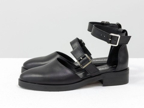 Женские черные туфли из кожи на маленьком каблуке, Д-23-24