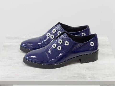 Туфли женские лаковые синего цвета,Т-1760-04