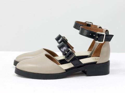 Летние туфли цвета нюд из натуральной кожи, Д-23-08