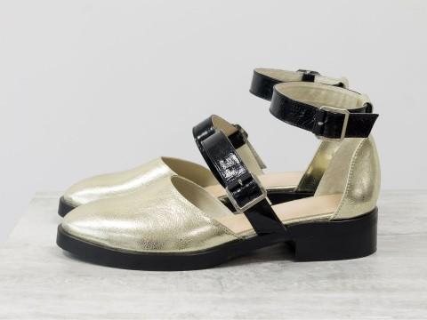 Женские туфли из кожи в цвете золото  на маленьком каблуке,  Д-23-25