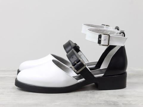 Женские черно белые туфли из натуральной кожи на маленьком каблуке, Д-23-36
