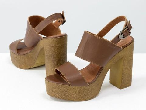 Коричневые босоножки из натуральной кожи на устойчивой каблуке