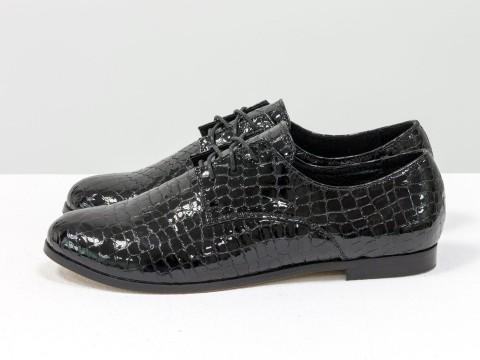 Туфли дерби со шнуровкой черного цвета из лаковой кожи питон, Т-17355-03