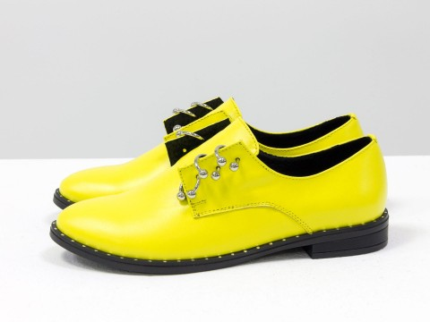 Женские желтые туфли дербииз кожи, Т-17355-05