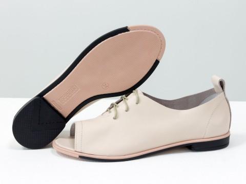 Туфли с открытым носком из кожи розового цвета на шнуровке,Т-17415