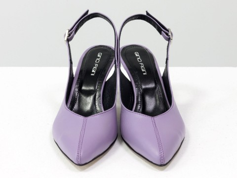 Лавандовые  туфли с открытой пяткой из натуральной кожи на шпильке