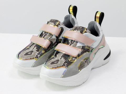 Женские яркие  кроссовки на липучках из натуральной кожи на модной подошве