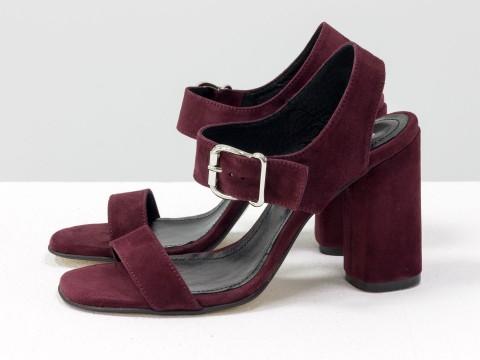 Бордовые босоножки на высоком каблуке из натуральной замши, С-1951-05