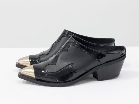 Женские черные сабо из натуральной кожи на маленьком каблуке
