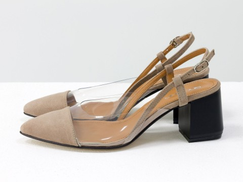 Бежевые туфли из итальянской замши и вставками из мягкого силикона