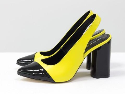 Дизайнерские неоновые туфли на высоком глянцевом каблуке