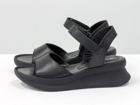 Черные босоножки из кожи на невысокой платформе, С-2019-01