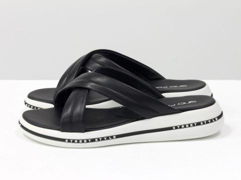 Летние шлепанцы черные из кожи на удобной подошве белого цвета, С-2022-01