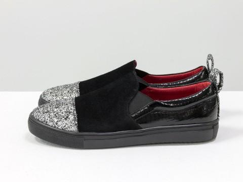 Женские слипоны черный замш серебряный носок и красная кожа внутри на черной подошве, Б-442