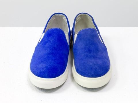 Слипоны кеды женские синие из натурального замша