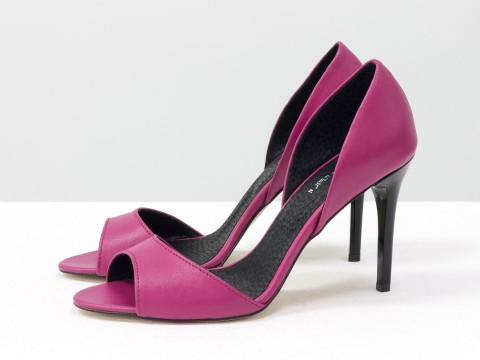 Туфли с открытым носком  цвета фуксии на шпильке,С-704