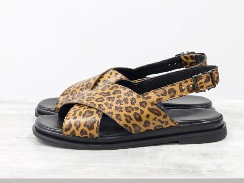 Леопардовые босоножки из натуральной кожи на низком ходу,  С-1811/1-01