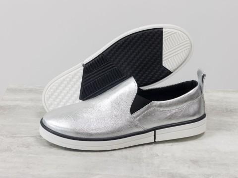 Женские кожаные мокасины серебряного цвета, Т-1925-01