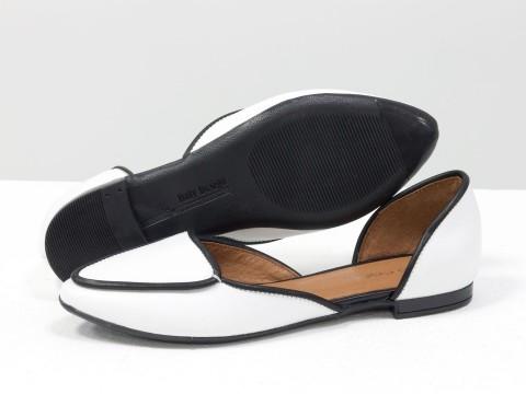 Туфли лодочки из натуральной кожи на низком ходу
