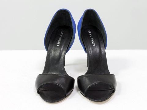Босоножки с открытым носком из натуральной кожи с замшевой пяткой на шпильке