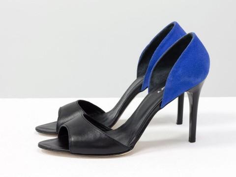 Босоножки с открытым носком черные на шпильке, С-704-56
