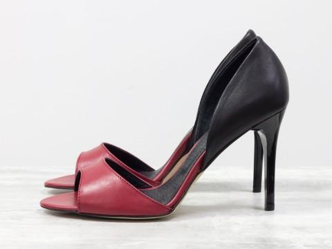 Классические босоножки из натуральной кожи красно-черного цвета на каблуке-шпилька,  С-704-18