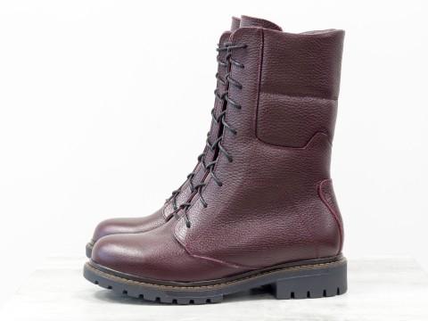 Женские зимние бордовые ботинки из натуральной кожи, Б-44-07