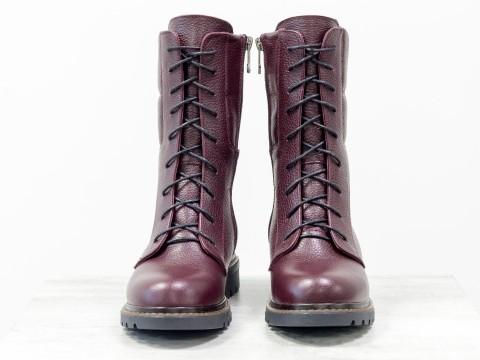 Женские зимние бордовые ботинки из натуральной кожи флотар на шнурках