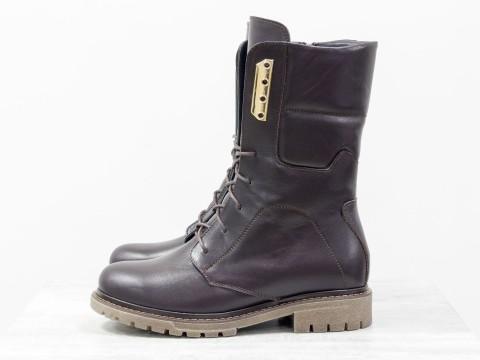 Коричневые ботинки из кожи , Б-44