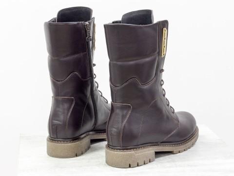 Коричневые ботинки из натуральной кожи
