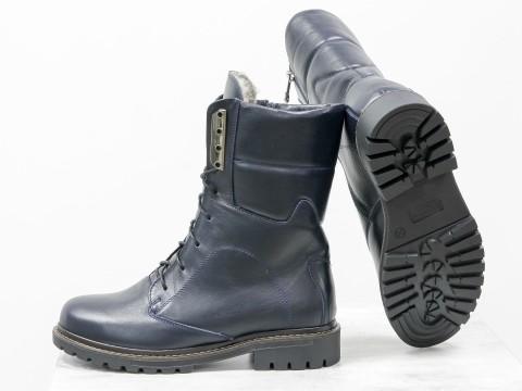 Женские ботинки на шнурках из натуральной кожи синего цвета