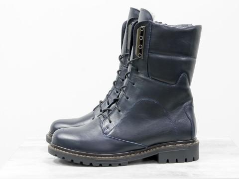 Женские ботинки на шнурках синего цвета из кожи , Б-44-10