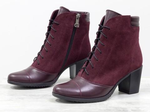 Ботинки со шнуровкой из натуральной кожи и замши бордового цвета на устойчивом каблучке  , Весна-Лето