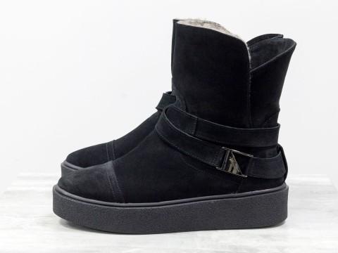 Черные меховые Ботинки в спортивном стиле, из натуральной замши, на утолщенной прорезиненной подошве, Б-17081-04