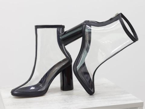 Женские силиконовые ботинки с отделкой из натуральной черной кожи