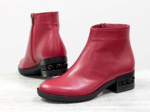 Красные классические ботинки из натуральной кожи на каблуке с жемчугом