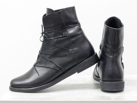 Ботинки на низком ходу черного цвета из кожи, Б-1798-02