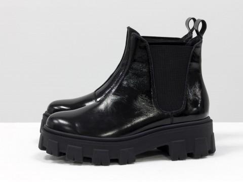 """Женские  ботинки """"челси"""" из  черной кожи наплак  на тракторной подошве, Б-2058-02"""