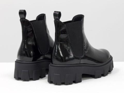 """Женские лаковые ботинки """"челси"""" из натуральной черной кожи, Б-2058-02"""
